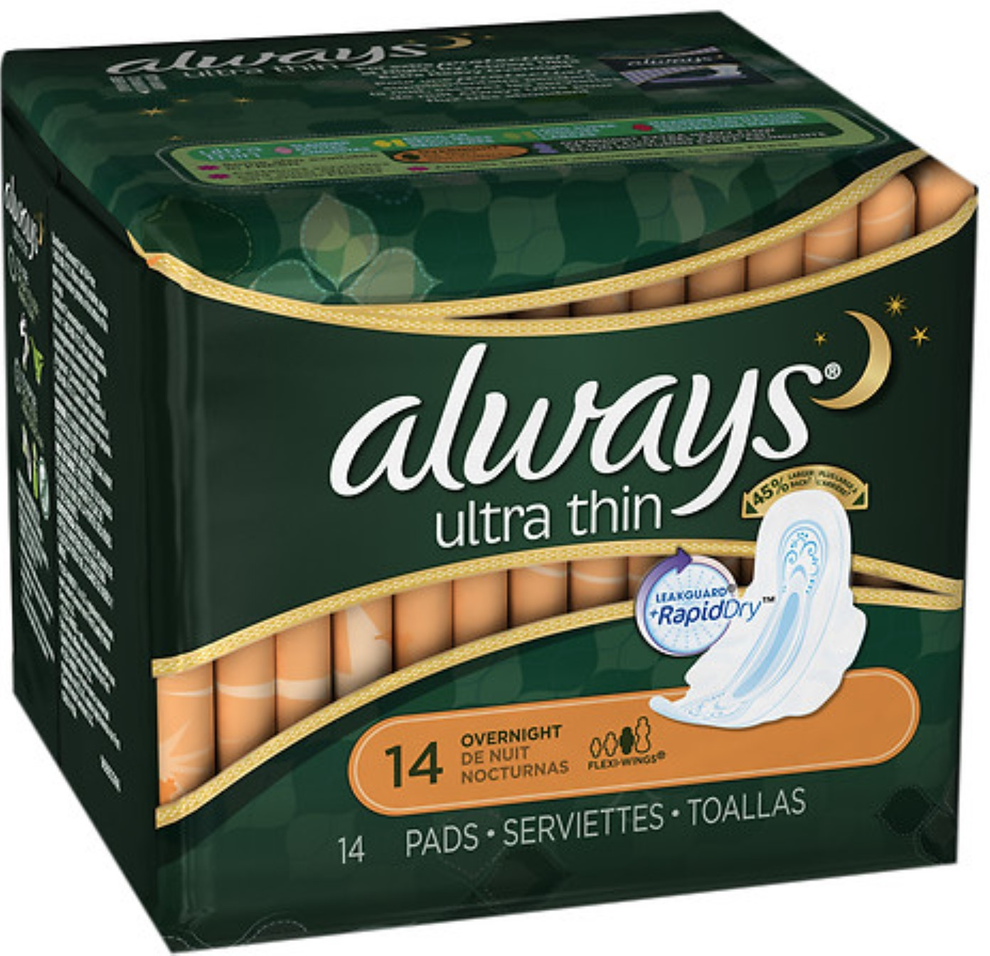 Always Ultra Thin Pads, Overnight 14 ea (Pack of 3)