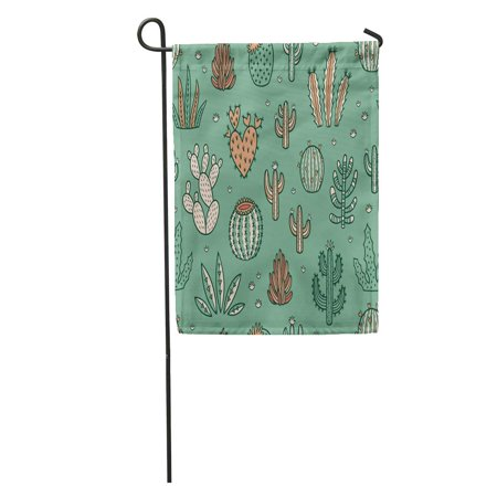 SIDONKU Green Cactus Succulents and Cactuses Limited Palette of Colors Floral Baby Garden Flag Decorative Flag House Banner 28x40 inch - Baby Green Color