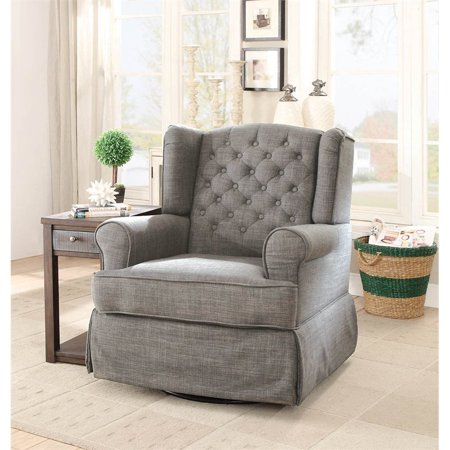 Excellent Furniture Of America Elmer Swivel Glider Rocker Chair In Grey Caraccident5 Cool Chair Designs And Ideas Caraccident5Info