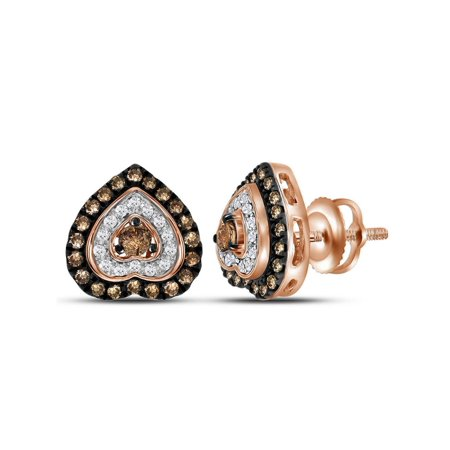 Remy Martin Fine Champagne Cognac Vsop (3/5 Carat (ctw I1) Cognac Champagne and White Diamond Heart Stud Earrings in 10K Rose Pink Gold )
