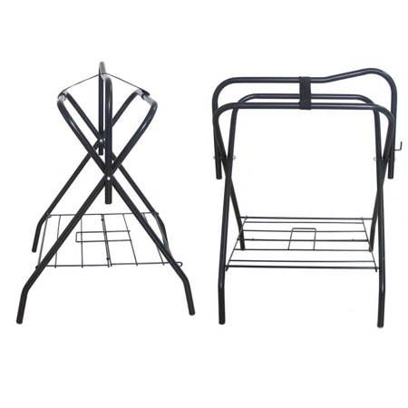 Two Floor Saddle Racks Stand Folding Storage Metal Black Saddle Tack Stable
