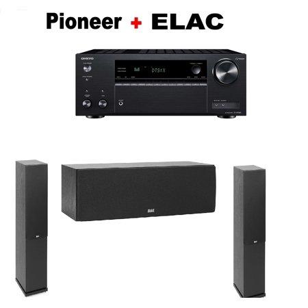 Onkyo TX-NR585 Receiver + Pair of Elac F5 2 Floorstanding Tower + ELAC C5 2  Center Speaker Bundle