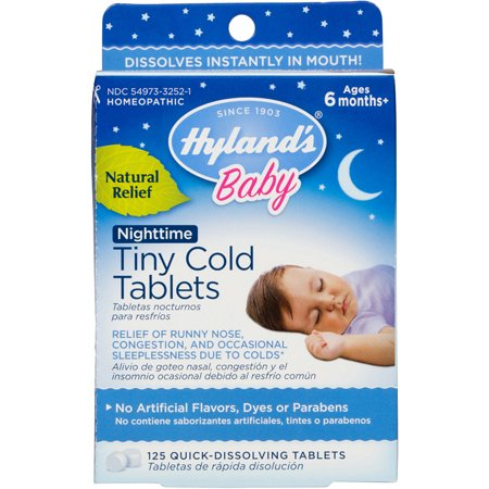 Hyland's Baby Nighttime Tiny Cold Tablets, Natural Relief of Runny Nose, Congestion, and Cold Symptoms at Night, 125 Quick-Dissolving