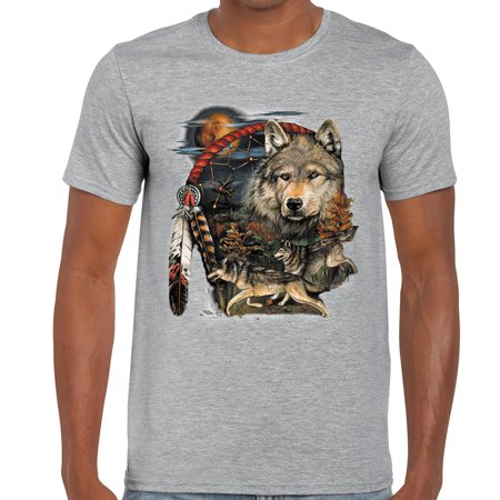 Men Native American Indian Dream Catcher T-shirt Wolf Moon Animal Spirit Tee Top Native American War Shirts