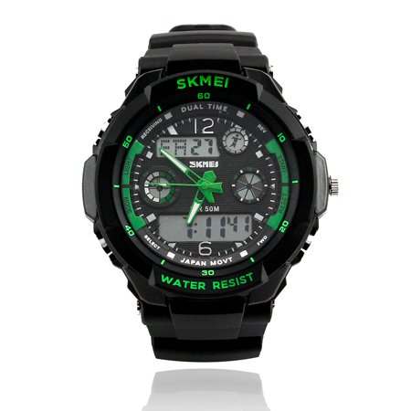Mens Fashion Waterpoof Analogue Military Digital LCD Alarm Date Army Rubber Sport Watch (Flower Fashion Watch)