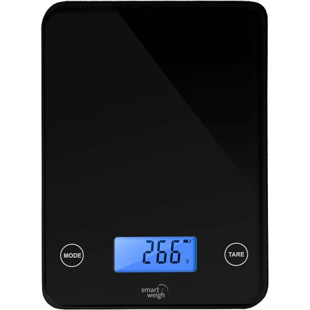 Smart Weigh Digital Kitchen Scale With Glass Top  Audible Touch Buttons  5 Unit Modes  Liquid Measurement Technology  Black  Sw Gls20b