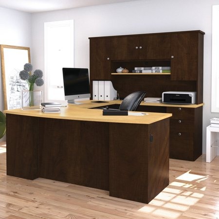 Bestar Manhattan U-shaped Workstation with Lateral File and Bookcase in Secret Maple and (Bestar Contemporary Credenza)