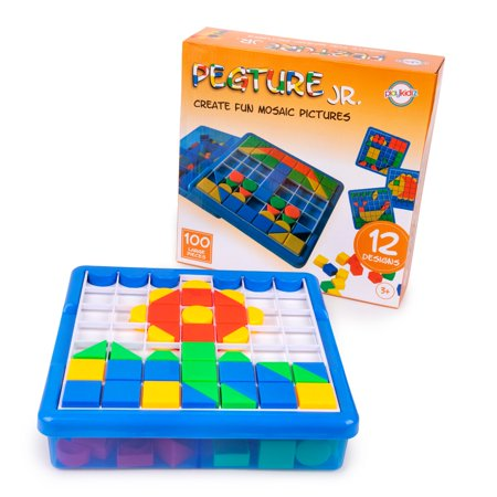 Playkidiz: Pegture Jr. Set with 100 Larger Pieces + 12 Design Cards. Mosaic Puzzle Toy Set, Creative Skills Development, Educational Learning Toys for Kid. Great Gift for Boys & Girls. Purple Gift Card
