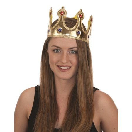 Gold Jeweled King Queen Crown Adult Costume Accessory Prince Princess Adjustable - 80s Prom King And Queen Costume
