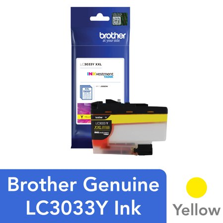 Brother Genuine LC3033Y, Single Pack Super High-yield Yellow INKvestment Tank Ink Cartridge, Page Yield Up To 1,500 Pages, LC3033 Genuine Yellow Ink Tank