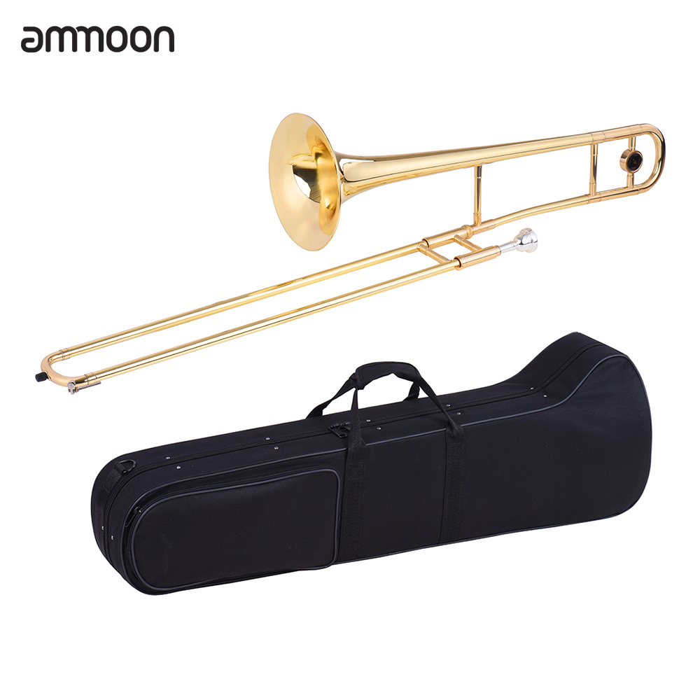 ammoon Alto Trombone Brass Gold Lacquer Bb Tone B flat Wind Instrument with Cupronickel... by