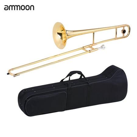 ammoon Alto Trombone Brass Gold Lacquer Bb Tone B flat Wind Instrument with Cupronickel Mouthpiece Cleaning Stick Case Eb Alto Trombone