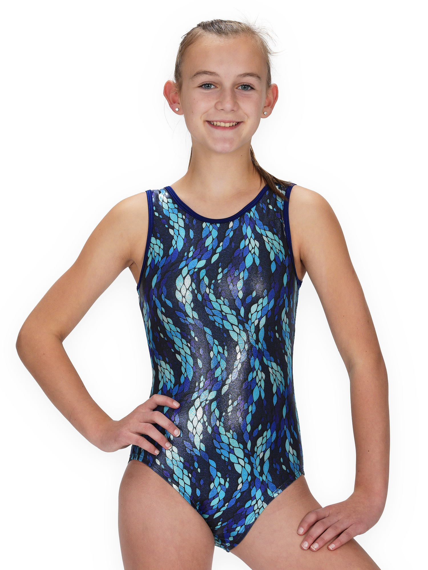 Gymnastics Leotard for Girls - Sea Braids/Jewel - Leap Gear by Pelle - 4 | Child Small