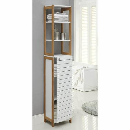 Neu Home Rendition 6-Shelf Bathroom Linen Tower Cabinet with Door ()