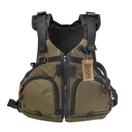 Blusea Fly Fishing Jacket Adjustable Breathable Kayaking Fishing Sports Life Vest 165lbs