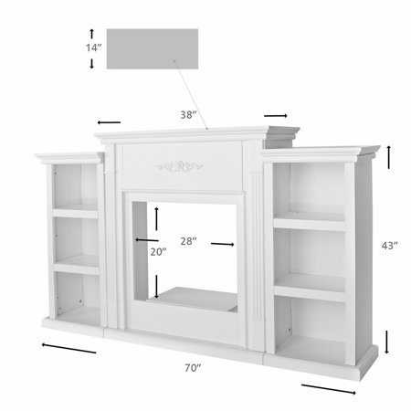 70″ TV Stand Firplace Stand Media Console Bookcase, Ivory