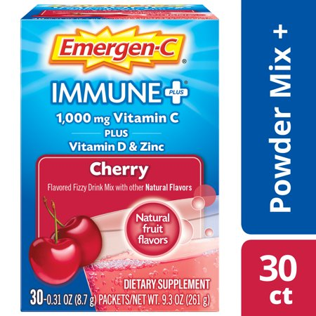 Emergen-C Immune+ Vitamin C Drink Mix, Cherry, 1000mg, 30 Ct