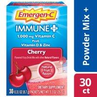 Emergen-C Immune+ Vitamin C Drink Mix, Cherry, 1000mg, 30 Ct