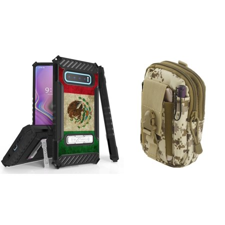 Beyond Cell Military Grade Shockproof Phone Case (Vintage Mexico Flag) Compatible with Samsung Galaxy S10+ Plus with Tactical Pouch (Desert Camo) and Atom (Flag Cell Phone Case)
