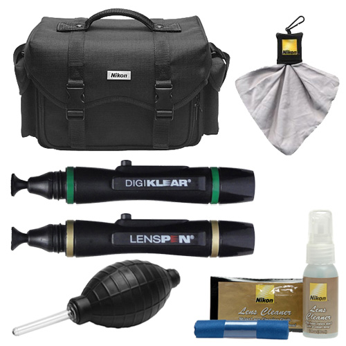 Nikon 5874 Digital SLR Camera Case - Gadget Bag with Nikon Cleaning Kit for D3100, D3200, D3300, D5100, D5200, D5300, D7000, D7100, D610, D800, D810, D4s