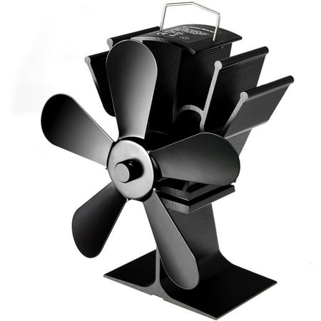 Costway Stove Fan 5 Blades Fuel Saving Heat Powered For Wood Burner Fireplace