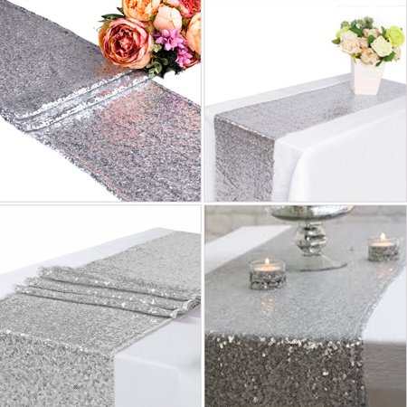 1/5/10pcs Silver Sequin Table Runners, Sparkly Table Cloth Fabric Tablecloth Wedding Christmas Thanksgiving Event Banquet Decor Photography Background Backdrop Photo Studio Props ()