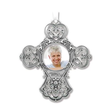 Mom Gift - Cross Photo Ornament - Metal Filigree and Crystals - Mother's Day Gift - Mom Remembrance Gift - Grandma Gift - Mother of the Bride