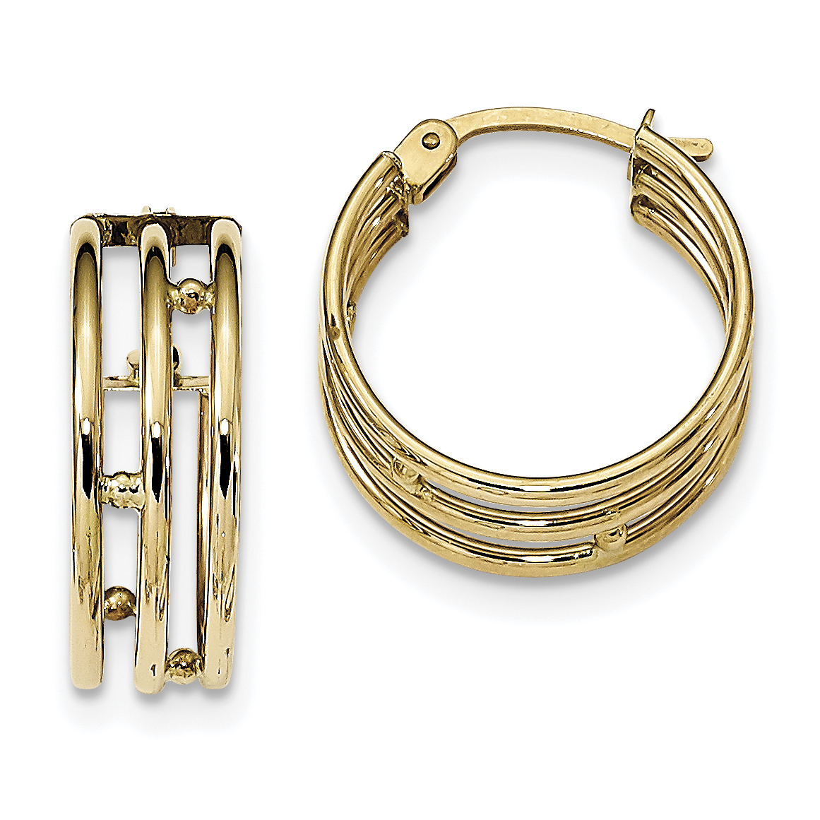 14K Yellow Gold Polished 3 Strand Hoops - image 2 of 2