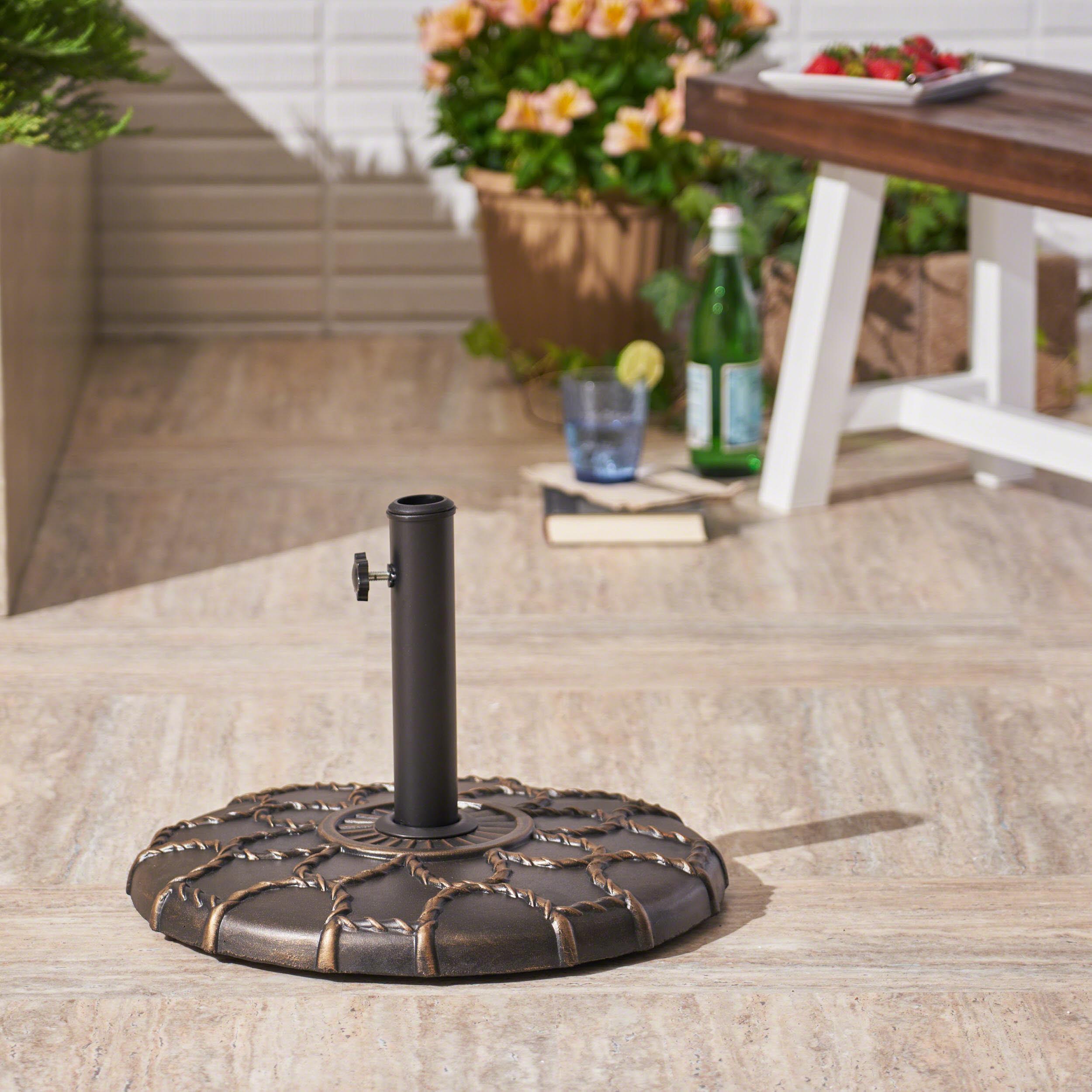 Outdoor 37lb Concrete Circular Umbrella Base, Hammered Dark Copper