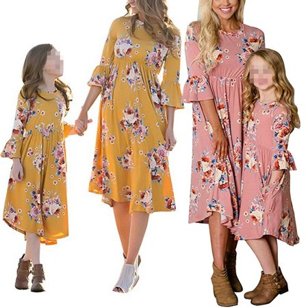 Family Matching Flower Print O-Neck Bell Sleeve Long Dress Mommy and Me One Piece Spring Fall Dress - Family Dress