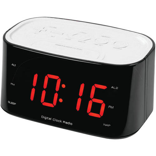 "Sylvania 1.2"" Bluetooth(R) Dual Alarm Clock Radio, White"