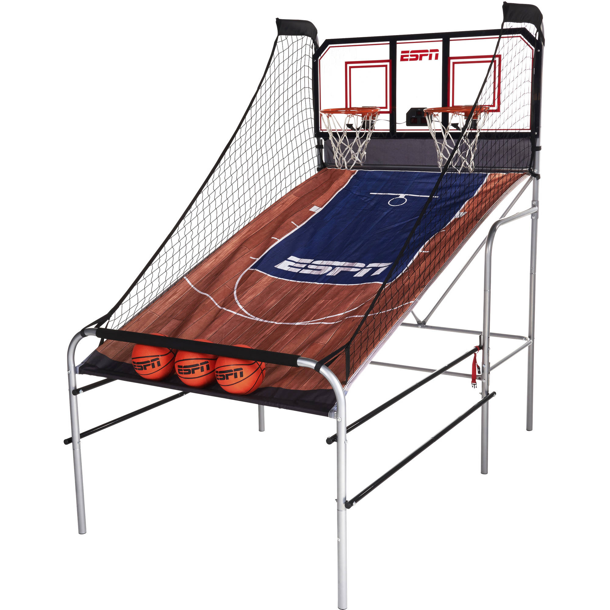 ESPN 2-Player Basketball Game with Polycarbonate Backboard (includes 3 basketballs and 1 air pump)