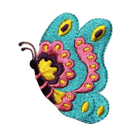 ID 2241 Pretty Butterfly Patch Floral Fairy Insect Embroidered Iron On Applique