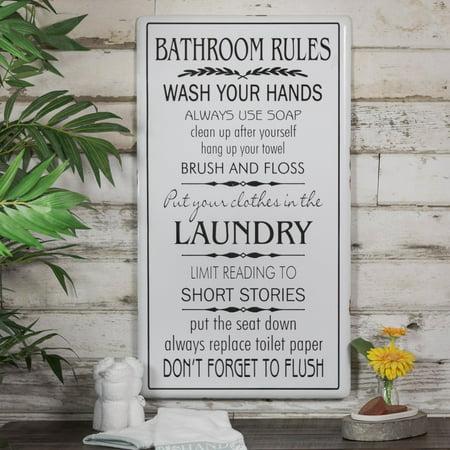 American Mercantile Bathroom Rules Metal Sign