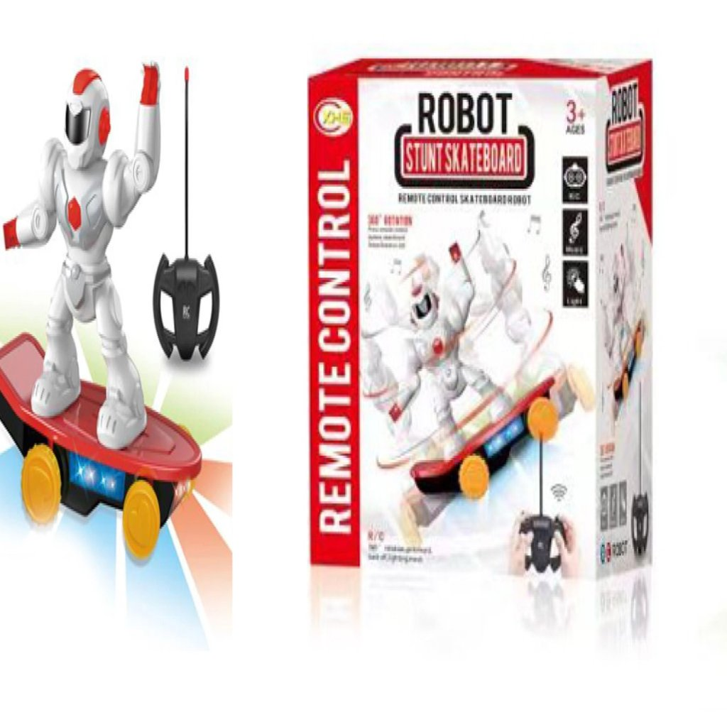 IQ Toys Robot Stunt Skateboard Remote Control Vehicle for Kids Robot Spins 360/° and Performs Stunts