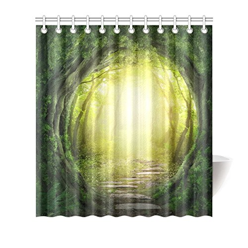 GCKG Stone Tree Forest Shower Curtain Hooks 66x72 Inches Green Yellow Fabric Road Flagging In Magic Dark