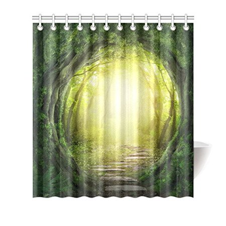 GCKG Stone Tree Forest Shower Curtain Hooks 66x72 inches Green Yellow Fabric Stone Road Flagging in Magic Dark Forest - image 1 of 3