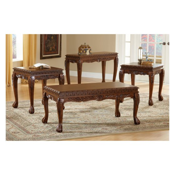 Coffee Table Sets Walmart: Bernards Deluxe Cherry Carved 3 Piece Coffee Table Set