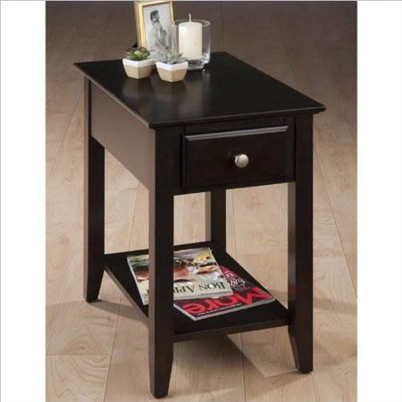 Chair Side Table with Round Brush Nickel Hardware ()