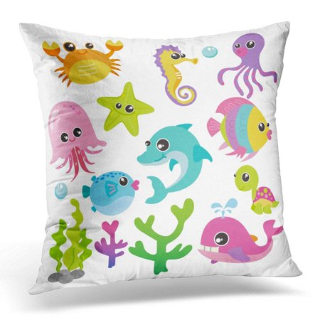 CMFUN Blue Animal Baby Sea Creatures Colorful Cute Pillows case 18x18 Inches Home Decor Sofa Cushion Cover - Colorful Sea Creatures