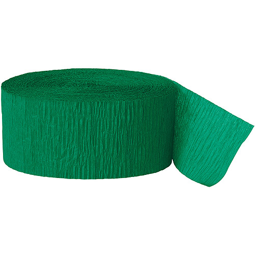 Crepe Paper Streamers, 81 ft, Green, 1ct