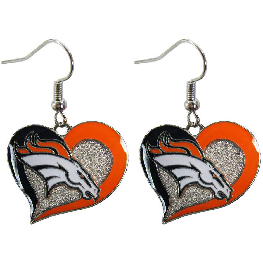 NFL Denver Broncos Swirl Heart Shape Dangle Logo Earring Set