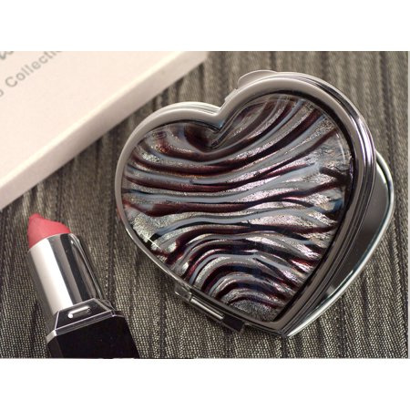 Murano art deco heart compact mirror silver and burgundy (Silver Heart Compact)