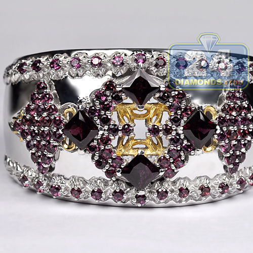 925 Sterling Silver 17.60 ct Garnet Gemstone Womens Cuff Bangle Bracelet 39 mm 7 inches by