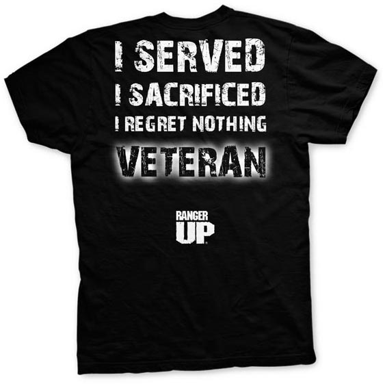 Ranger Up Veteran Regret Nothing T-Shirt - Black