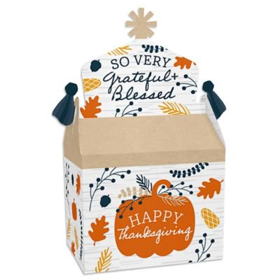 Happy Thanksgiving - Treat Box Party Favors - Fall Harvest Party Goodie Gable Boxes - Set of 12 Favor Gable Boxes
