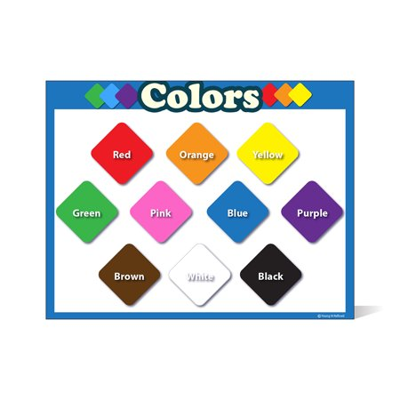 Colors learning chart LAMINATED poster teachers and educators Blue Border Landscape SMALL SIZE no pictures fun classroom decoration and presentation clear read from distance