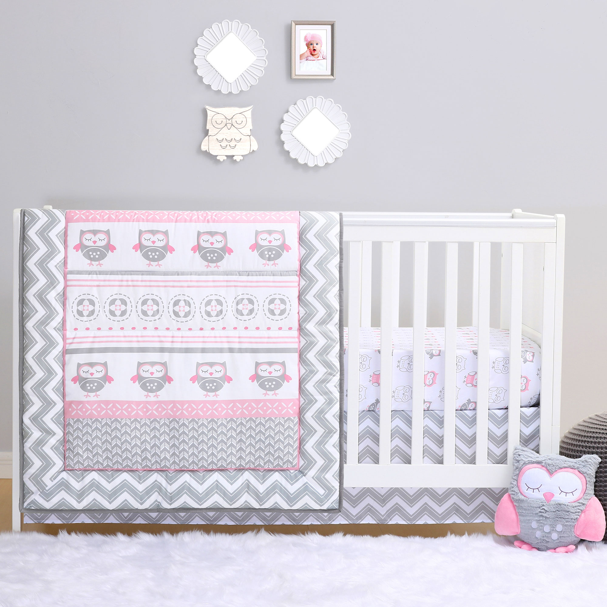 Grey And Pink Chevron Owl 4 Piece Baby Crib Bedding Set By