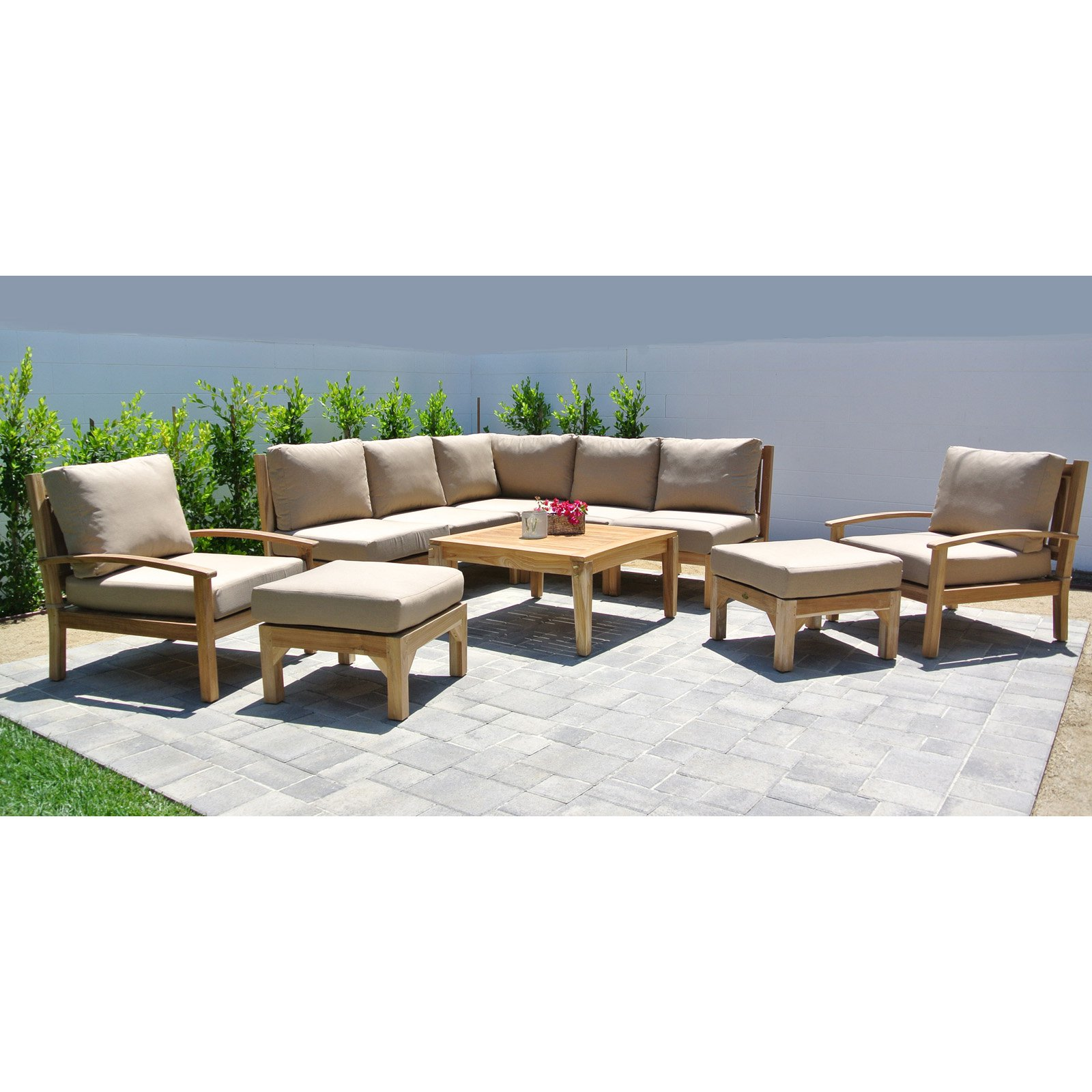 Willow Creek Huntington 10 Piece Teak Sectional Patio Conversation Set with Square Chat Table