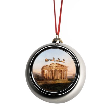 Santa Klaus and Sleigh Riding Over The Leaning Tower of Pisa in the Daylight Italy Bauble Christmas Ornaments Silver Bauble Tree Xmas Balls (Daylight Sales Santa)